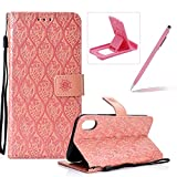 Rose Gold Leather Case for iPhone XR,Strap Wallet Case for iPhone XR,Herzzer Bookstyle Classic Elegant Pretty Flower Design Magnetic Stand Flip Leather Case with Soft TPU