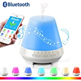 3-in-1 Smart Aroma Essential Oil Diffuser Bluetooth Speaker Lamp,VOSAKE 300ml Mist Humidifier with 7 Colorful Lights,Waterless Auto Shut-off&Timing,Alarm,Music play with TF Card, App Control for Yoga