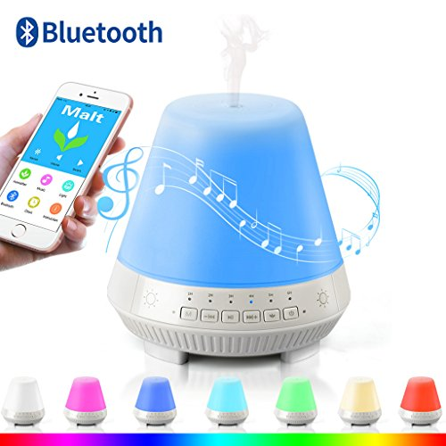 3-in-1 Smart Aroma Essential Oil Diffuser Bluetooth Speaker Lamp,VOSAKE 300ml Mist Humidifier with 7 Colorful Lights,Waterless Auto Shut-off&Timing,Alarm,Music play with TF Card, App Control for - Mist Dinner Summer