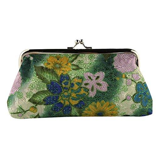 Price comparison product image Pocciol Women Love Wallets, Women Lady Retro Vintage Flower Small Wallet Hasp Soft Purse Clutch Bag (Green)