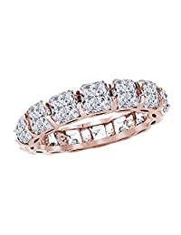 Asscher Cut White Cubic Zirconia Eternity Band Ring In 14k Gold Over Sterling Silver