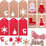 Blulu 200 Pieces 10 Styles Paper Tags Kraft Gift Tags Hang Labels with Snowflake Christmas Tree Elk Patterns and 65.6 Feet Twines String for Christmas DIY Art