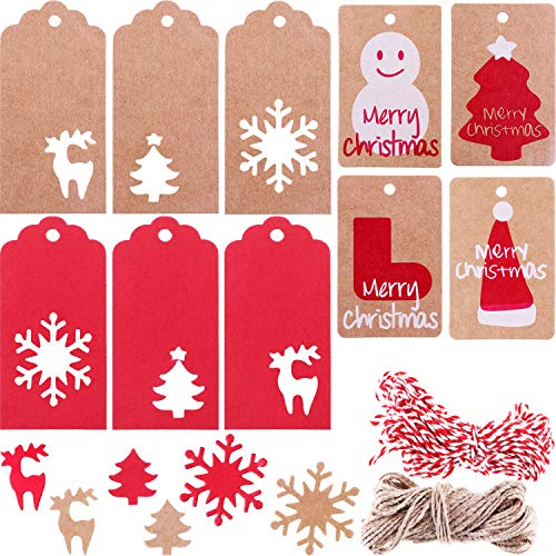 Christmas Gift Hang Tags - Blulu 200 Pieces 10 Styles Paper Tags Kraft Gift Tags Hang Labels with Snowflake Christmas Tree Elk Patterns and 65.6 Feet Twines String for Christmas DIY Art