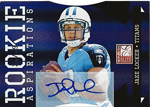 JAKE LOCKER 2011 Panini Donruss Elite Football ROOKIE ASPIRATIONS AUTOGRAPH (Tennessee Titans) Rare Rookie Diecut Signed NFL Collectible Trading Card #24/49