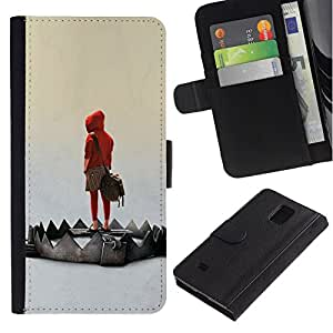 NEECELL GIFT forCITY // Billetera de cuero Caso Cubierta de protección Carcasa / Leather Wallet Case for Samsung Galaxy Note 4 IV // Emo Trampa
