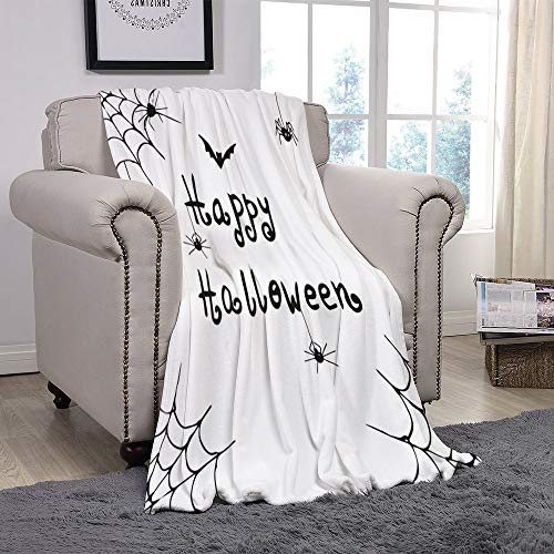 SCOCICI Super Soft Throw Blanket/Spider Web,Happy Halloween Celebration Monochrome Hand Drawn Style Creepy Doodle Artwork,Black White/for Couch Bed Sofa for Adults Teen Girls Boys ()