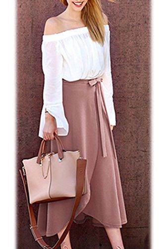 Zamtapary Cintura Alta Sólido Ajustable Mujer Talla Pink Maxi De Falda Extra Hendidura Largo TwTFSqr