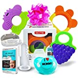 Baby Teething Toys Set of 5: 3 Silicone Baby Fruit Teethers + Baby Pacifier + Baby Toothbrush/Fingertip Massager & Case | Best Relief for Sore Gums | Freezer Safe Dishwasher Safe | SCME Baby Teether
