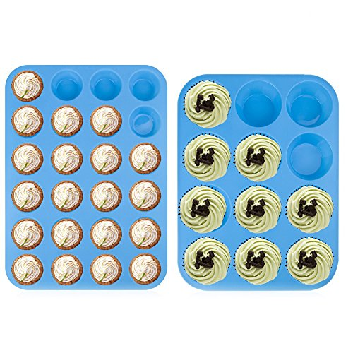 (12 & 24 Cup Sizes) -Non Stick, BPA Free Bakeware Silicone Muffin & Cupcake Mold Baking Pan Set -Top Home Kitchen Trays & Molds - Dishwasher Safe (Blue-2 pack) ()