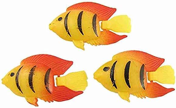 Miki Co Black Striped Orange Fins Aquarium Fish Ornament 3 Pcs Amazon Co Uk Pet Supplies