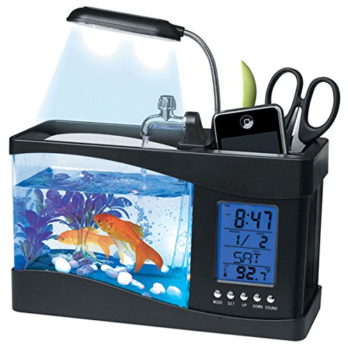 Mini LCD USB Desktop Aquarium Fish Tank de luz LED Timer Reloj Calendario: Negro: Amazon.es: Deportes y aire libre