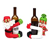 table decorations for christmas Homecube Christmas Ornament, 2pcs Cute Santa Claus & Snowman Doll Wine Bottle Hold Cover Party Christmas Table Decoration