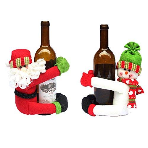 Homecube Christmas Ornament, 2pcs Cute Santa Claus & Snowman Doll Wine Bottle Hold Cover Party Christmas Table Decoration