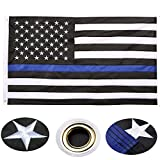 woshenger Thin Blue Line Flag, 3x5 Foot with Embroidered Stars, Sewn Stripes Blue Line USA Banner Flags for American Police Flag Honoring Law Enforcement Officers
