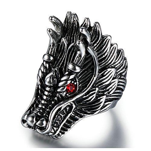 Wood Dragon Belt - Gnzoe Mens Stainless steel Ring Dragon Head punk black silver 39MM Size 7