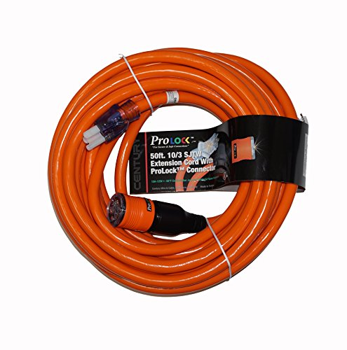 - ProLock 10 Gauge 3 Conductor SJTW 50 Foot Extension Cord With Lighted Ends - Orange