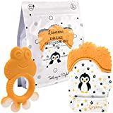 Liname Deluxe Teething Set Includes Teething Mitten for Babies & Teething Toy - Safe (BPA Free), Washable Teething Mitt - Provides Soothing Relief & Solves Your Babies Teething Problems
