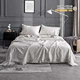 King Linens Simple&Opulence Belgian Linen Sheet Set 4PCS Stone Washed Solid Color Ruffles
