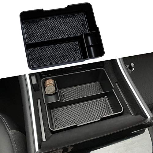 JDMCAR for 2017 2018 2019 Tesla Model 3 Center Console Organizer Insert ABS Black Materials Tray