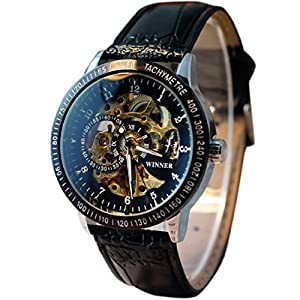 uhr herren Koly Automatic Watch Self-winding Skeleton Mechanical Leder black
