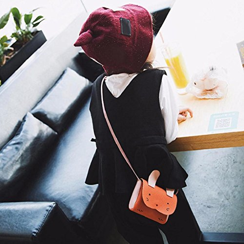 School SHOBDW Party 2 Crossbody Shoulder Bags Girls PU Cute White Kids Mini Animal x Leather 5 Orange 9cm 12 Handbag x Bag Gifts Bunny Children ZcpHc5OPq
