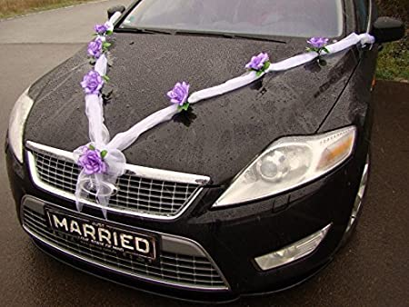 Car decoration bride and groom rose decoration garland m wedding car car decoration bride and groom rose decoration garland m wedding car wedding decoration car purple junglespirit Image collections