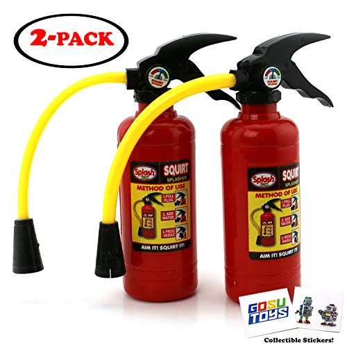 Splash Fun Fire Extinguisher Water Gun Squirter Pump for Kids Fire Fighter Toy with Aim Control Nozzle with 2 Gosutoys Stickers]()