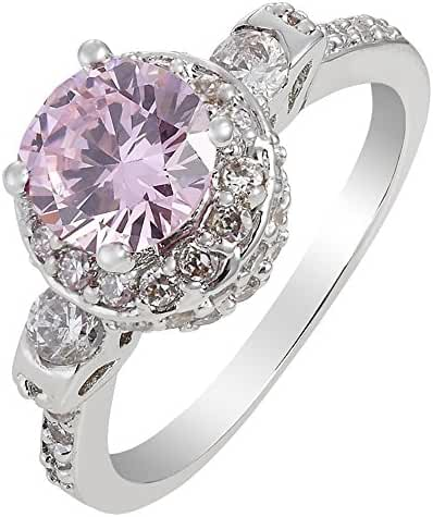 Rizilia Jewelry Fashion Designer White Gold Plated Round Cut Pink Color Stone Cocktail Ring Size 6
