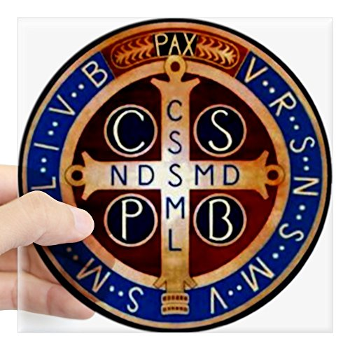 (CafePress Benedictine Medal Sticker Square Bumper Sticker Car Decal, 3