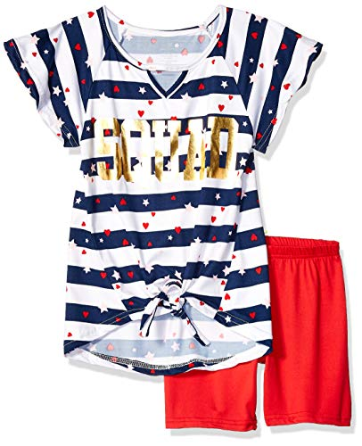 (One Step Up Girls' Big Soft Knit Top and Short Set, Squad red/Navy, 10/12)