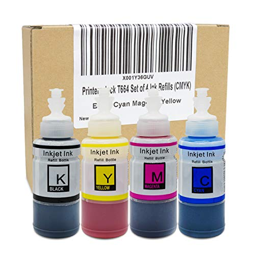Epson Ink Refill - Printers Jack Compatible Ink Bottle Replacements for Epson 664 (1 Black, 1 Cyan, 1 Magenta, 1 Yellow, 4-Pack)