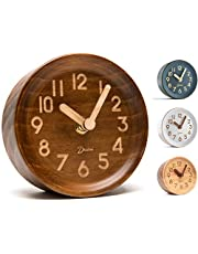 Driini Wooden Desk & Table Analog Clock Made of Genuine Pine - Battery Operated with Precise Silent Sweep Mechanism