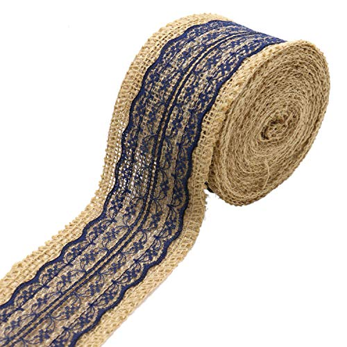 JETEHO 5 Yards Natural Burlap Ribbon Roll Burlap Ribbon with Lace for Wedding DIY Crafts Home Party Decoration (Navy -
