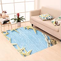 Nalahome Custom carpet Decor Seashells Rope Maritime Beach Theme Shellfish Wooden Board Romance Vintage Holiday Marine area rugs for Living Dining Room Bedroom Hallway Office Carpet (4 X 6)
