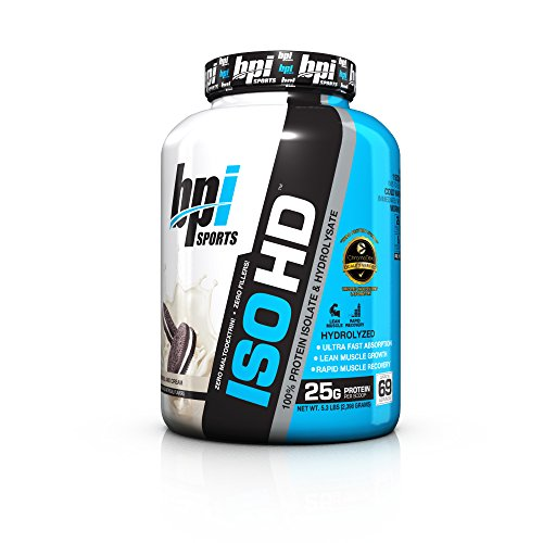 BPI Sports ISO HD 100 Protein Isolate Hydrolysate, Cookies and Cream, 5.3 Pound