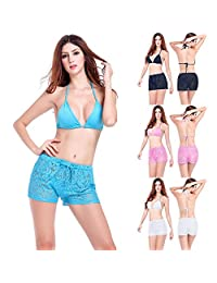 Charming Lace Shorts Swimming Transparent Floral Boxers Beach Pants For Women YYDZJ