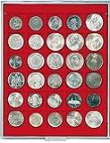 Lindner 2115 Münzbox mit 30 quadratischen Vertiefungen für Münzen/Münzkapseln mit 36 x 38 mm-grau / rote Einlage