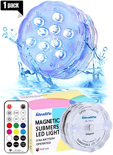 Idealife Colorful Waterproof Lights - 2019 New Version Remote Controlled AA Magnetic Underwater Pond Lights Ambiance Accent Light for Pool, Aquarium, Fountains, Closet, Plant, Centerpieces, Party -