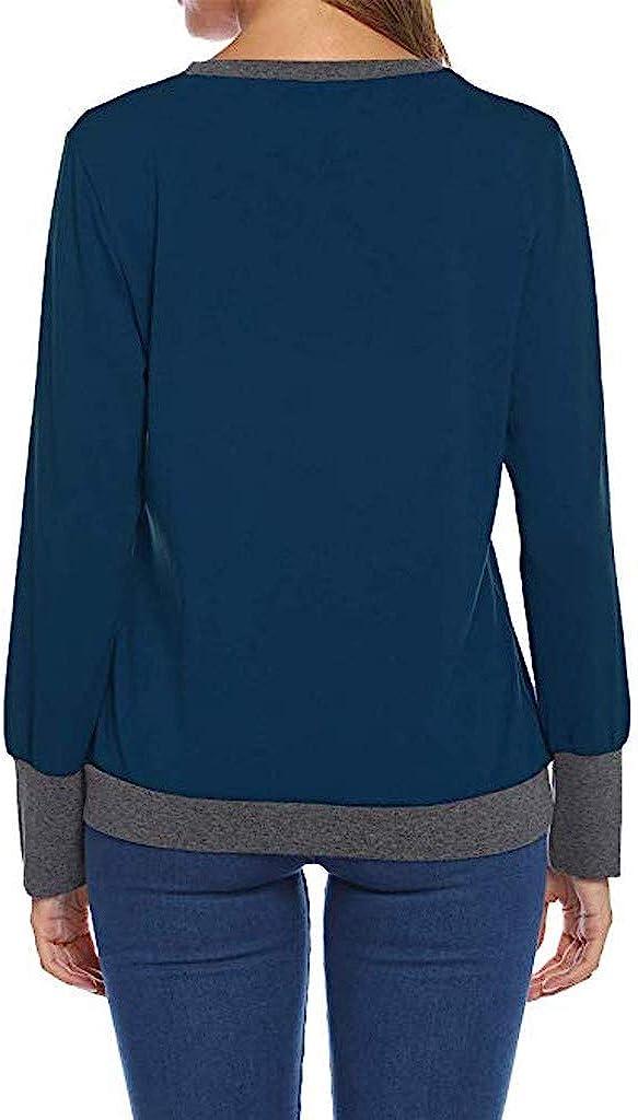 Exteren Womens Color Block Shirts Round Neck Long Sleeve Patchwork Sweatshirt Pullover