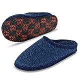 LE KAPMOZ Men's Boiled Wool House Slippers Breathable Warm Clog Slip on Mule Indoor/Outdoor Slipper for Women 2018 (Medium/Men 7.5-8.5=42 EU=Women 9-10, Blue 2017)