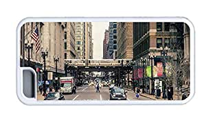 Cute iphone case best Chicago city street buildings people cars TPU White for Apple iPhone 5C