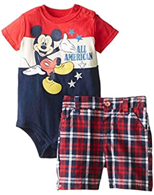 Infant Boys 2 Piece Mickey Mouse All American Bodysuit Plaid Shorts