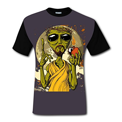 Alien Jesus Men T-shirt New Style Cool Tee Shirt Youth Short Sleeve Costumes DIY Fashion Fit For Man Men Teen Junior Black (Jesus Costume Diy)