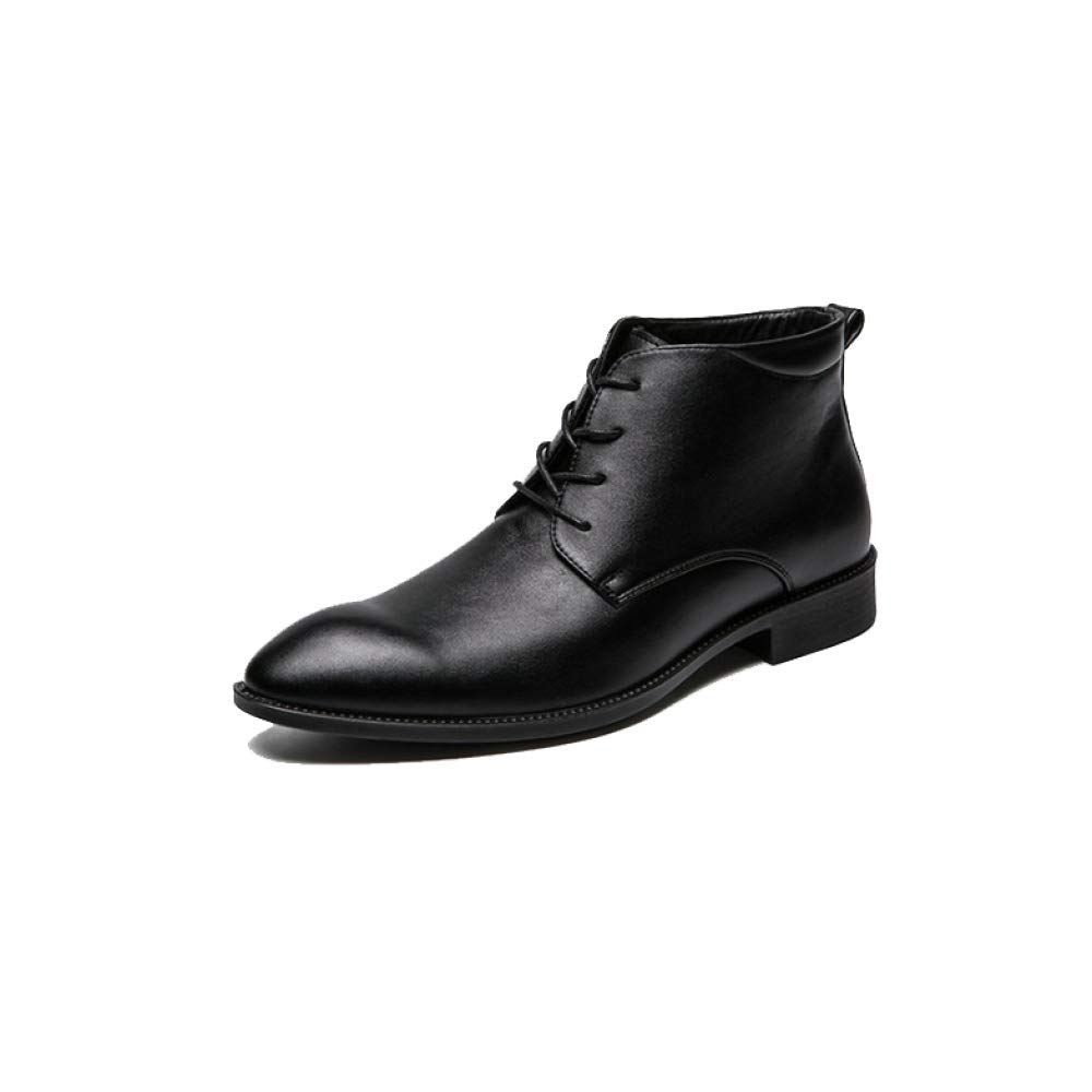 Black AEYMF British High-top Leather shoes Men's Help Pointed Casual Business shoes Large Size