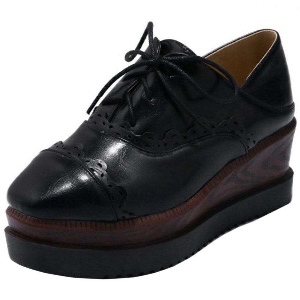 Zanpa Damen Mode Flatform Pumps Keilabsatz36 EU / 36 AS / 23 CM|1#black
