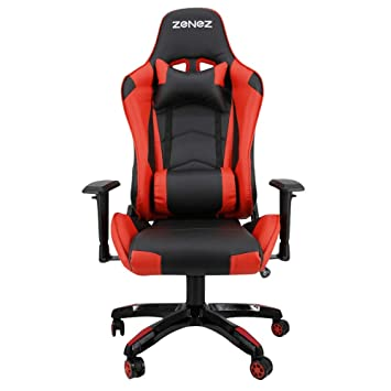 Silla Gaming Profesional PC Gamer Silla Oficina ergonomica reclinable Cuero PU con Cojín Lumbar Altura ajustable Rojo