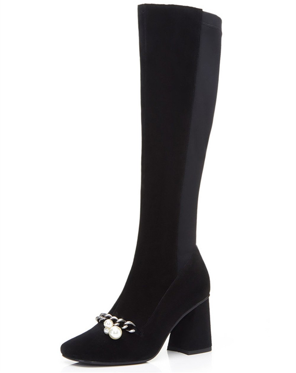 Nine Seven Suede Leather Women's Square Toe Chunky Heel Pearls Chain Handmade Knee High Boots (7.5, Black)