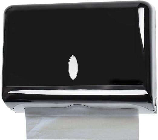 Cabilock Dispensador de Toallas de Papel Montado en La Pared Soporte de Tejido de Acero Inoxidable Dispensador de Toallas de Papel de Mano para Oficina Ba/ño Cocina Negro
