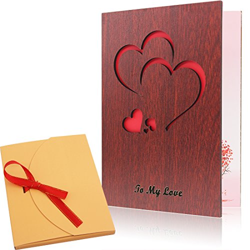 Handmade Walnut Wood Love Greeting Card with Unique Gift Card Box The Best Birthday, Valentine's Day Anniversary Gift Idea - Valentine Card
