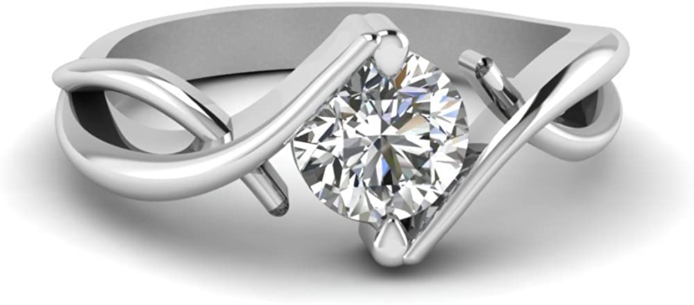 1.00 ct Round Brilliant Cut White F Moissanite Engagement Ring 925 Silver